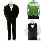 Boy Teen Formal Wedding Party 7pc Black Suit Tuxedo Green + Lime Vest Tie 8-14