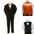 Boy Teen Formal Wedding Party 7pc Black Suit Tuxedo Plus Orange Vest Tie sz 8-14
