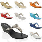 Ladies Low Heel Wedge Diamante Toe Post Womens Sparkley Dressy Party Sandals
