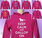 Pink Hoodie KEEP CALM and GALLOP ON Horse Riding girls womens Pony Ride hoody