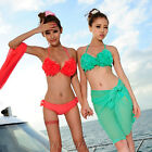 Hawaii Style Handmade Flower Push Up bikini Set 3Pcs Swimsuit Bathing Suit SW451