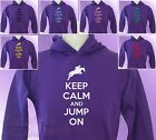 Purple Hoodie KEEP CALM and JUMP ON Horse Riding girls womens Pony Ride hoody