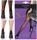 Sexy Nylon Seamed Retro Vintage Sheer Tights Lingerie Black Nude Red Back Seam