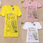 Hot Sale Shirt Women Owl Pattern Sequined Micro Elasticity Cotton Tees 3Size1009