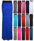 NEW LADIES CONTRAST ELASTIC WAIST STRAIGHT WOMENS LONG MAXI DRESS SUMMER SKIRT