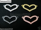 10pcs Side Ways Crystal Rhinestones Heart Bracelet Connector Charm Beads Pick