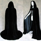 Stock ! MEDIEVAL Velvet Black Hooded Cloak Velvet Cape Wedding Shawl Halloween
