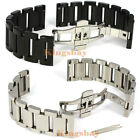 New 20 22 mm Solid Stainless Steel Bracelets Strap Deployment Button Watch Band