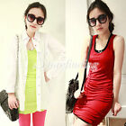 Women's Sexy Candy Color Long T-Shirt Dresss Casual Modal Vest Dresss Tank Top