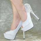 New Super High Heels Party Queen Platform Glitter Bows Open Toes Women Shoes