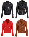 WOMENS LADIES LEATHER LOOK JACKET PADDED FAUX PU PVC COAT BIKER BOMBER SIZE 8 14
