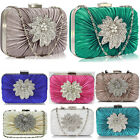 LADIS FASHION FLOWER CLUTCH BAG PURSE WEDDING PARTY DIAMANTE CRYSTAL BLOGGER