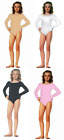 CHILDREN'S CHILD KIDS GIRLS LONG SLEEVES BODYSUIT LEOTARD UNITARD BLACK PINK