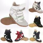 Hot Womens/Ladys Velcro  High Top Sneakers Double tongue Ankle Wedge Shoes Boots