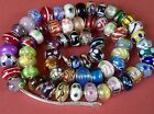 Set of 3 Plum Murano glass slider charm bracelet beads 925 silver cores GFTBOXD