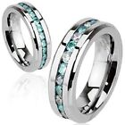Mens Classic Wedding Band Ring Stainless Steel Eternity Ring Blue CZ  5 to 13