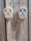 Fair Trade Hand-Carved Wooden Skull Candy/Sugar Skull Day Of The Dead Windchime