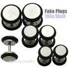 PAIR 0G, 2G~FAKE PLUG Steel Flat Disc with O-rings 18GA~1.0mm Shaft- Choose size