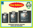 CARRIER BAGS LADY LEPARD DESIGN - BLACK PRINTED BAGS STRONG PLASTIC POLYTHENE