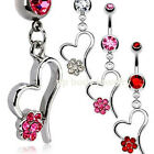 "14G~3/8"" (10mm) Steel Hollow Heart with Multi CZ Paved Flower Dangle Navel Ring"