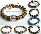 ETHNIC INSPIRED: URBAN TRIBAL MENS CHUNKY SILVER BLING WOOD BEAD BANGLE BRACELET