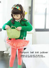 1670 Boutique Pompom Knit Cotton Pullover Sweater Loosefit Super Soft NWT Green