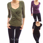 V Neck Long Sleeve Ruched Twist Cross Front Tee Casual Blouse Top