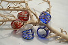 Glas Ring  blau / rot Silber Gold individuelle Muster Murano Bandring MG7