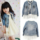 Girls Kids Lace Cowgirl Jean Coat Jacket Denim Top Button Costume Outfits 2-7T