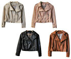 Hot Stylish Women's Lady Artificial Leather Rivets Slim Motorcycle Jacket Coat