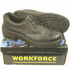 """WORKFORCE"" Steel Toe Cap Black Leather Safety Shoes. Size 3 - 14. Trainers GS2"