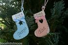 Personalised Baby's 1st Christmas 2014 Stocking decoration hand made shabby chic