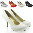 LADIES SATIN MID KITTEN HEEL WOMENS PLATFORM WEDDING BRIDAL COURT SHOES SIZE 3-8
