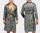 Luxurious Mens Satin Silk Pajamas Kimono Robe Gown Loungewear US M up to 4XL