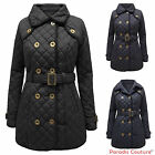 LADIES BRAVE SOUL QUILTED PADDED WOMENS COLLARED BUTTON JACKET BELTED COAT 8-16