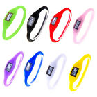 Free Shipping Digital Silicone Rubber Jelly Anion Sports Bracelet Wrist Watch