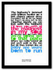BRUCE SPRINGSTEEN - Born To Run - lyric poster typography art print - 4 sizes