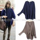Women Loose Batwing Cardigans Coat Jacket Woolen Knitwear Sweater WSWET057