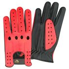 TOP QUALITY REAL SOFT LEATHER MENS DRIVING GLOVES BLACK WITH RED STAR MEN - 507