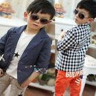 Fashion Kids Toddlers Boys Plaid Check Dots Casual Suit Jacket Coat Clothes 2-7Y