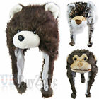 NEW Faux Fur Fleece Animal Trapper Winter Hat Monkey Bear Tiger Kids Ladies Mens