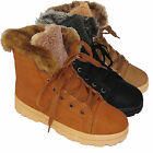 LADIES ANKLE BOOTS WOMENS HI HIGH TOP TRAINERS FUR LINED WINTER FLAT SHOES SIZE