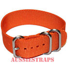 PREMIUM ZULU 3 Ring ORANGE 20mm,22mm,24mm Military Divers NYLON watch strap band