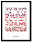 FRANK TURNER - Redemption - song lyric poster typography art print - 4 sizes