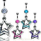 """14G~3/8"""" Surgical Steel Navel Ring with Triple Layered Paved Gem Star Dangle"""