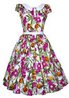 Classic 1940's 1950's Vintage Button Detail English Floral Tea Dress New 8 - 18