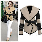 Fashion Women's Slim Sheath Col Boule Outerwear Wool Coat with Belt Two Quality