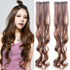 New Woman's Long Curly Wavy Hairpiece 2Clip In Hair Extensions 6Colors AP17