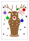 PERSONALISED CHRISTMAS CARD GRANDCHILDREN, XMAS CARD GRANDCHILD MULTI RUDOLPH