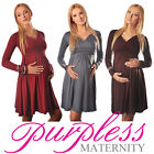 Long Sleeve Maternity Vneck Dress Pregnancy Top Tunic Size 8 10 12 14 16 18 4419